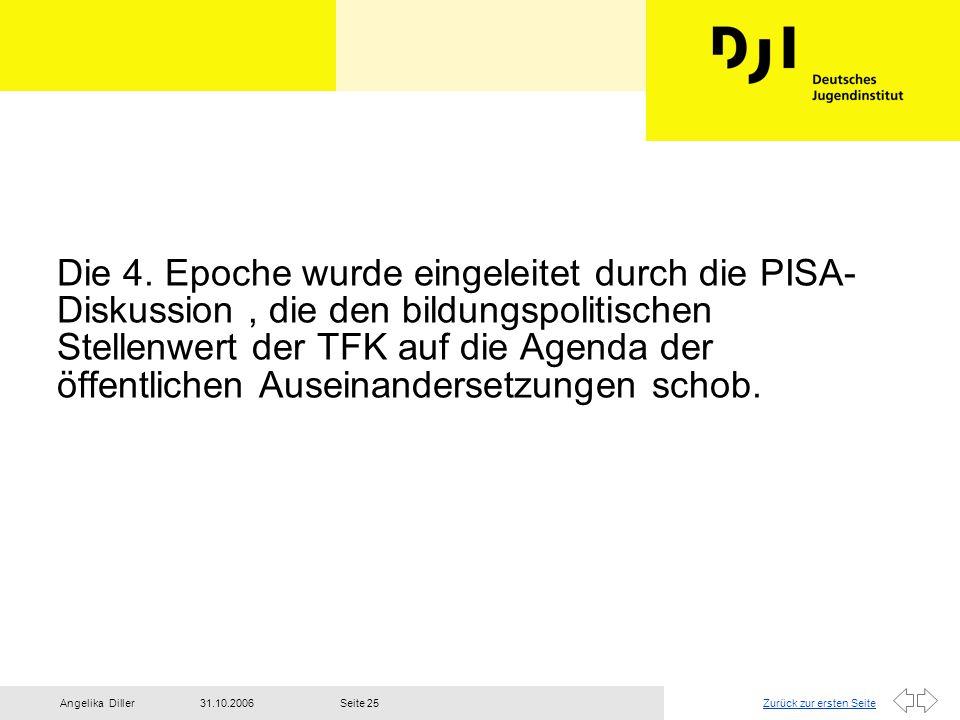 Zurück zur ersten Seite31.10.2006Angelika DillerSeite 25 Die 4. Epoche wurde eingeleitet durch die PISA- Diskussion, die den bildungspolitischen Stell