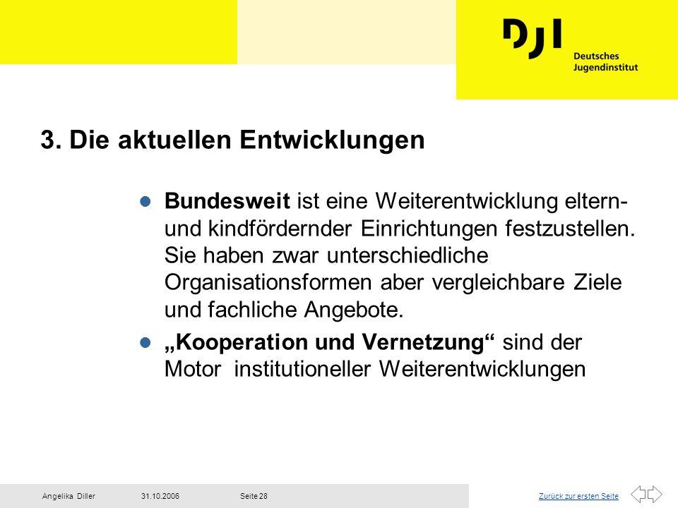 Zurück zur ersten Seite31.10.2006Angelika DillerSeite 28 3. Die aktuellen Entwicklungen l Bundesweit ist eine Weiterentwicklung eltern- und kindförder