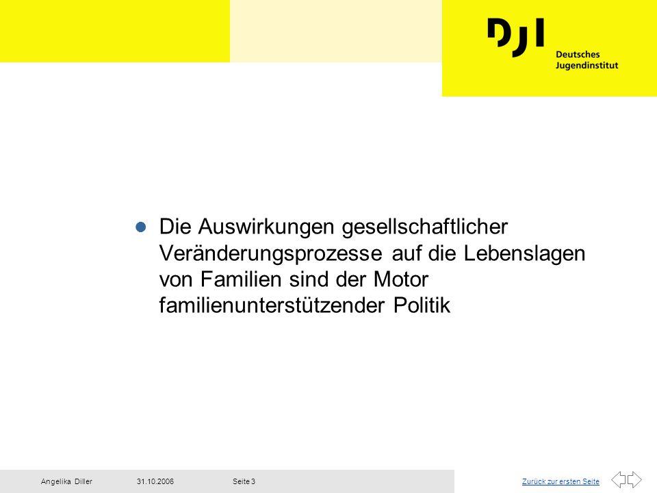 Zurück zur ersten Seite31.10.2006Angelika DillerSeite 3 l Die Auswirkungen gesellschaftlicher Veränderungsprozesse auf die Lebenslagen von Familien si