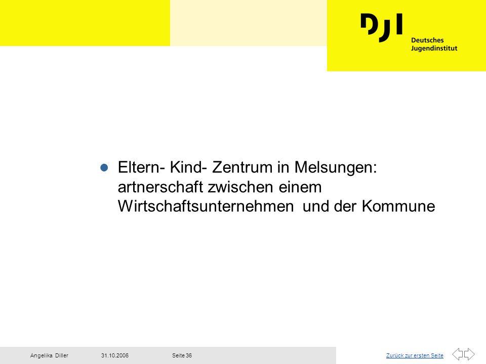Zurück zur ersten Seite31.10.2006Angelika DillerSeite 36 l Eltern- Kind- Zentrum in Melsungen: artnerschaft zwischen einem Wirtschaftsunternehmen und
