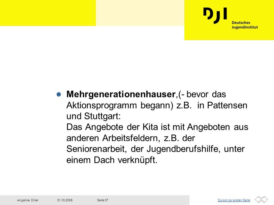 Zurück zur ersten Seite31.10.2006Angelika DillerSeite 37 l Mehrgenerationenhauser,(- bevor das Aktionsprogramm begann) z.B. in Pattensen und Stuttgart