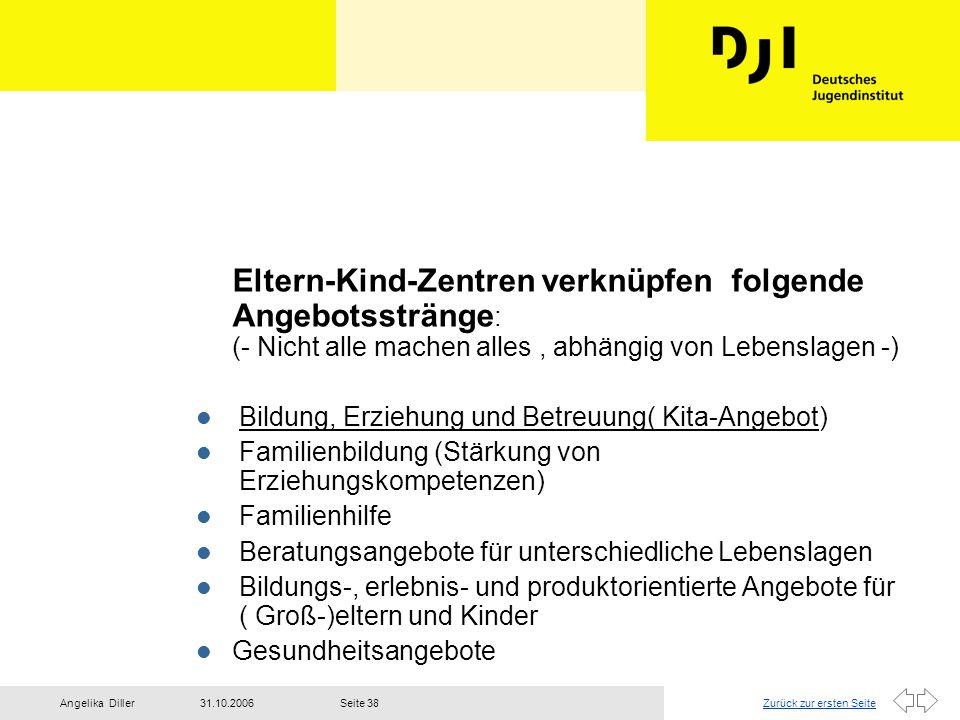 Zurück zur ersten Seite31.10.2006Angelika DillerSeite 38 Eltern-Kind-Zentren verknüpfen folgende Angebotsstränge : (- Nicht alle machen alles, abhängi