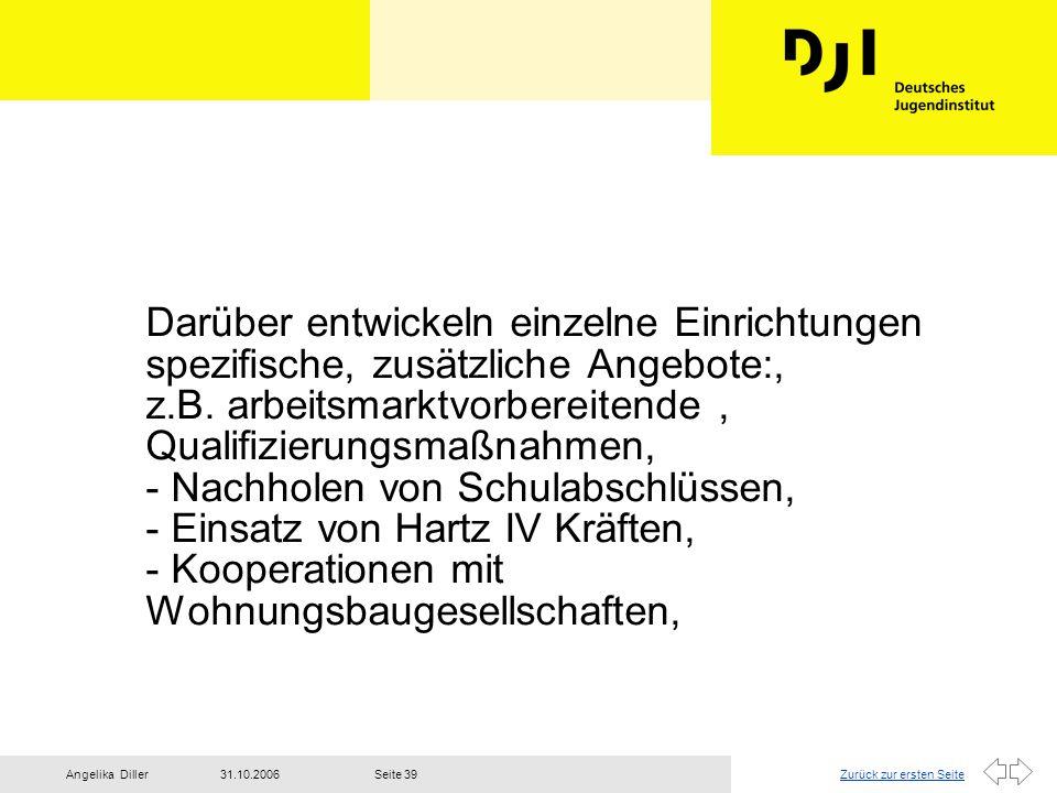 Zurück zur ersten Seite31.10.2006Angelika DillerSeite 39 Darüber entwickeln einzelne Einrichtungen spezifische, zusätzliche Angebote:, z.B. arbeitsmar