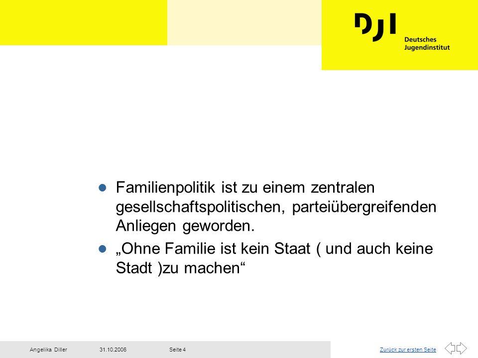 Zurück zur ersten Seite31.10.2006Angelika DillerSeite 4 l Familienpolitik ist zu einem zentralen gesellschaftspolitischen, parteiübergreifenden Anlieg