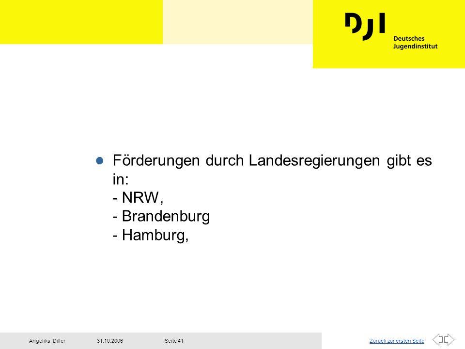Zurück zur ersten Seite31.10.2006Angelika DillerSeite 41 l Förderungen durch Landesregierungen gibt es in: - NRW, - Brandenburg - Hamburg,