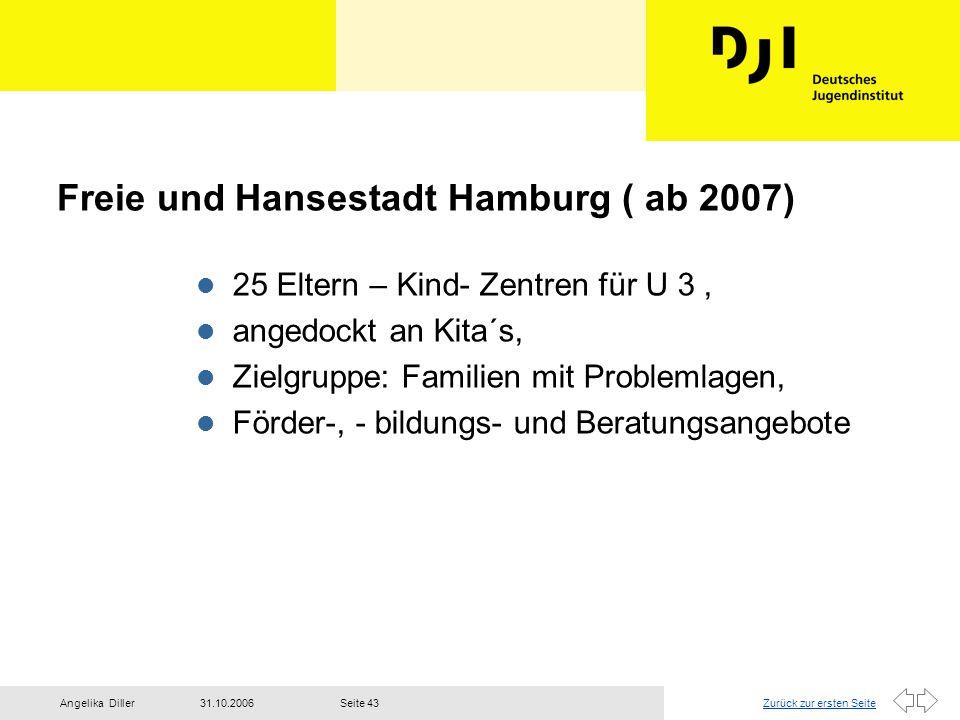 Zurück zur ersten Seite31.10.2006Angelika DillerSeite 43 Freie und Hansestadt Hamburg ( ab 2007) l 25 Eltern – Kind- Zentren für U 3, l angedockt an K