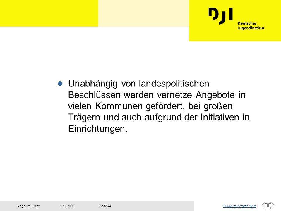 Zurück zur ersten Seite31.10.2006Angelika DillerSeite 44 l Unabhängig von landespolitischen Beschlüssen werden vernetze Angebote in vielen Kommunen ge