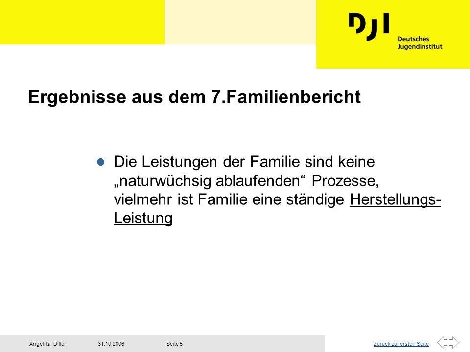 """Zurück zur ersten Seite31.10.2006Angelika DillerSeite 5 Ergebnisse aus dem 7.Familienbericht l Die Leistungen der Familie sind keine """"naturwüchsig abl"""