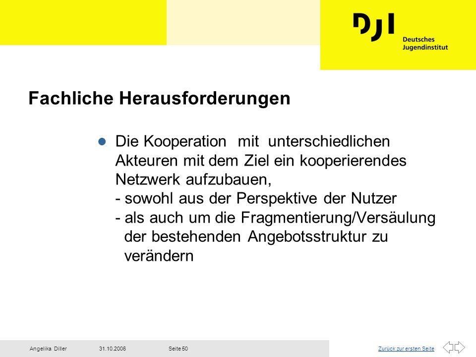 Zurück zur ersten Seite31.10.2006Angelika DillerSeite 50 Fachliche Herausforderungen l Die Kooperation mit unterschiedlichen Akteuren mit dem Ziel ein