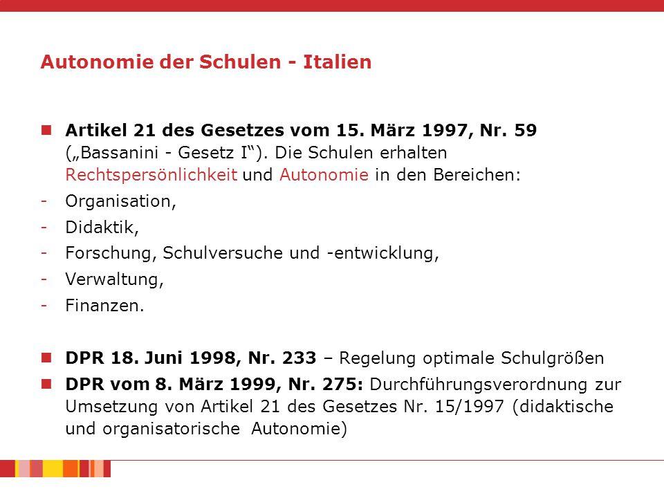 """Artikel 21 des Gesetzes vom 15.März 1997, Nr. 59 (""""Bassanini - Gesetz I )."""