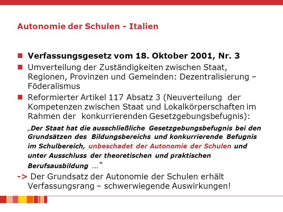 Autonomie der Schulen - Italien Verfassungsgesetz vom 18.