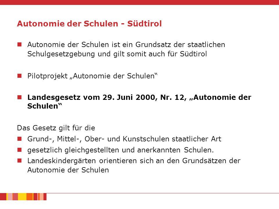 """Autonomie der Schulen - Südtirol Autonomie der Schulen ist ein Grundsatz der staatlichen Schulgesetzgebung und gilt somit auch für Südtirol Pilotprojekt """"Autonomie der Schulen Landesgesetz vom 29."""