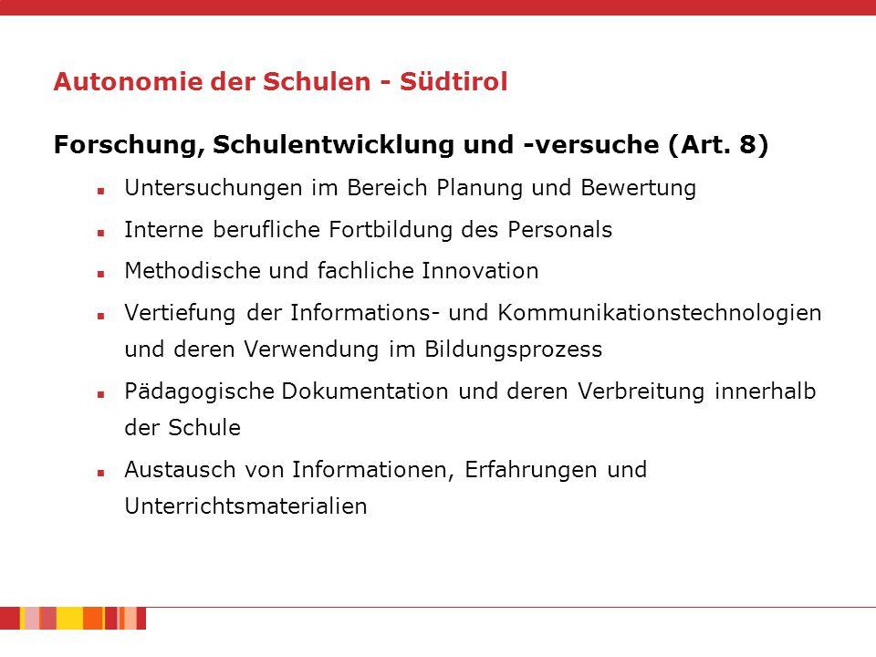 Forschung, Schulentwicklung und -versuche (Art.