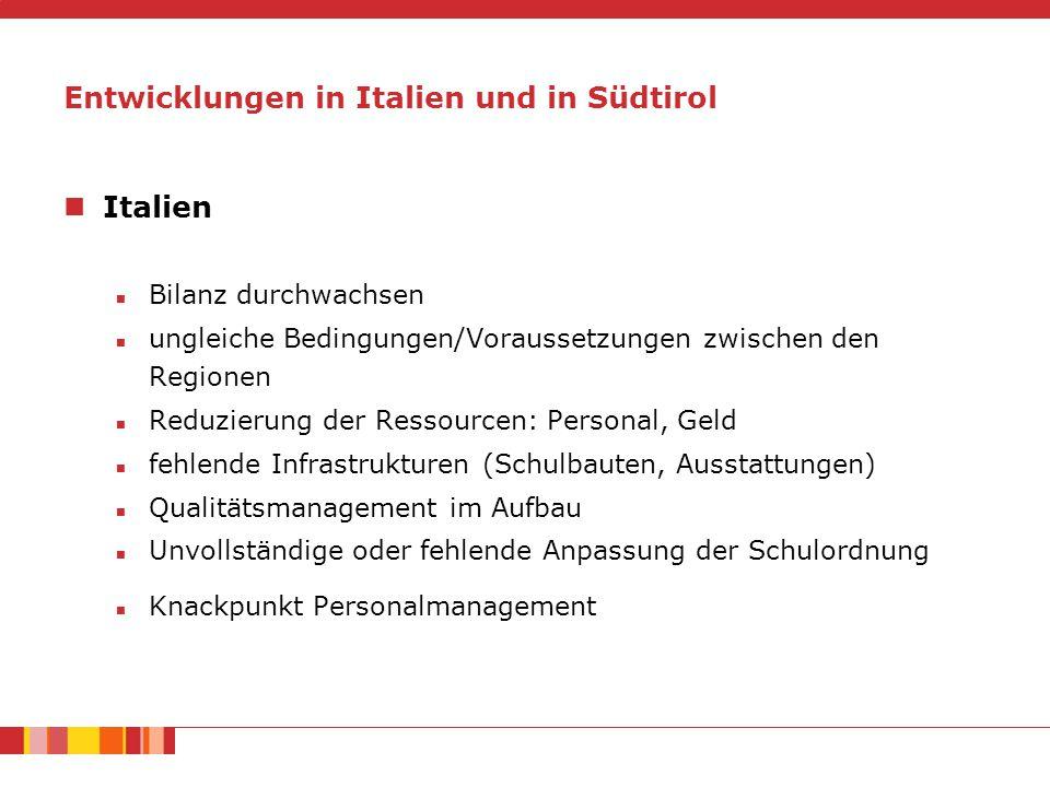Entwicklungen in Italien und in Südtirol Italien Bilanz durchwachsen ungleiche Bedingungen/Voraussetzungen zwischen den Regionen Reduzierung der Ressourcen: Personal, Geld fehlende Infrastrukturen (Schulbauten, Ausstattungen) Qualitätsmanagement im Aufbau Unvollständige oder fehlende Anpassung der Schulordnung Knackpunkt Personalmanagement