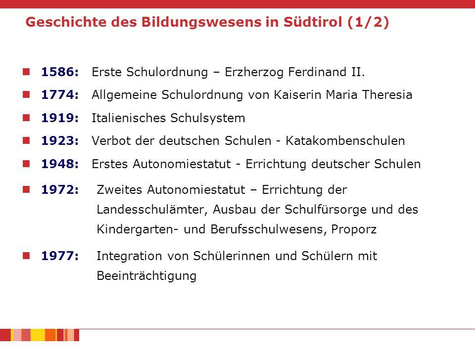 Geschichte des Bildungswesens in Südtirol (1/2) 1586: Erste Schulordnung – Erzherzog Ferdinand II.