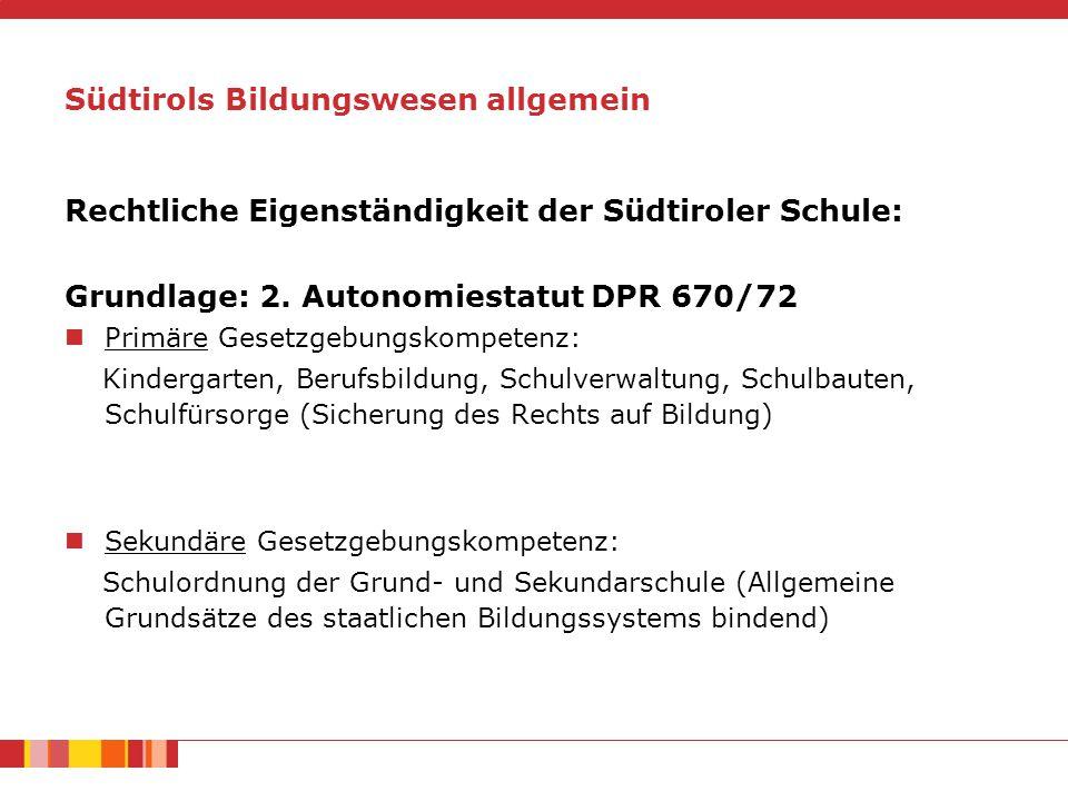 Südtirols Bildungswesen allgemein Begriffsklärung Schulautonomie bezeichnet die besonderen Befugnisse des Landes Südtirol im Bildungsbereich (Artikel 8, 9 und 19 des Autonomiestatuts) Autonomie der Schulen bezeichnet den Gestaltungsfreiraum der Schulen innerhalb bestimmter Vorgaben (Landesgesetz vom 29.