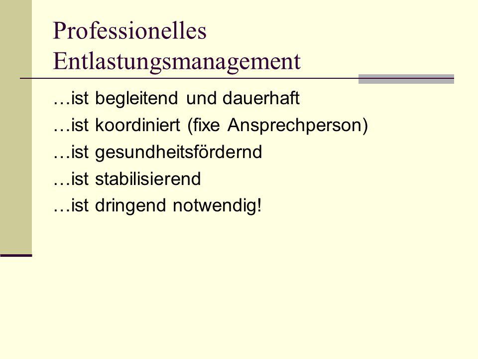 Professionelles Entlastungsmanagement …ist begleitend und dauerhaft …ist koordiniert (fixe Ansprechperson) …ist gesundheitsfördernd …ist stabilisierend …ist dringend notwendig!