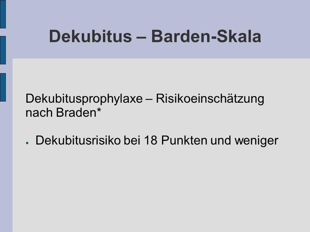 Dekubitus – Barden-Skala Dekubitusprophylaxe – Risikoeinschätzung nach Braden* ● Dekubitusrisiko bei 18 Punkten und weniger