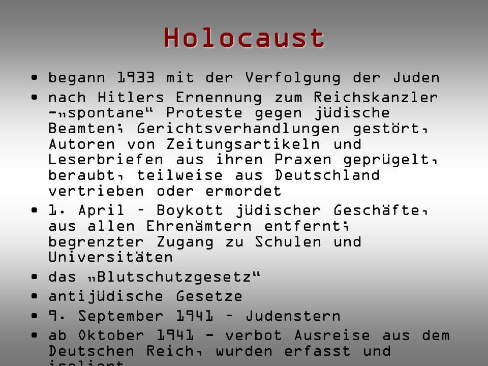 """Holocaust begann 1933 mit der Verfolgung der Juden nach Hitlers Ernennung zum Reichskanzler -""""spontane"""" Proteste gegen jüdische Beamten; Gerichtsverha"""