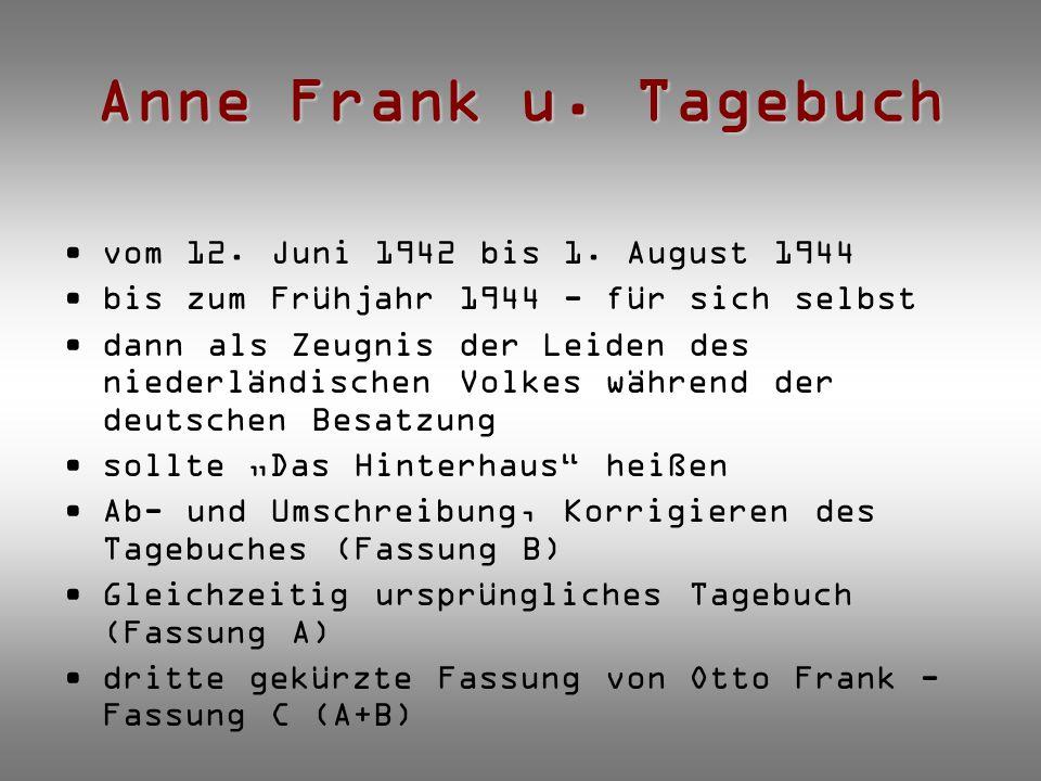 Anne Frank u. Tagebuch vom 12. Juni 1942 bis 1. August 1944 bis zum Frühjahr 1944 - für sich selbst dann als Zeugnis der Leiden des niederländischen V