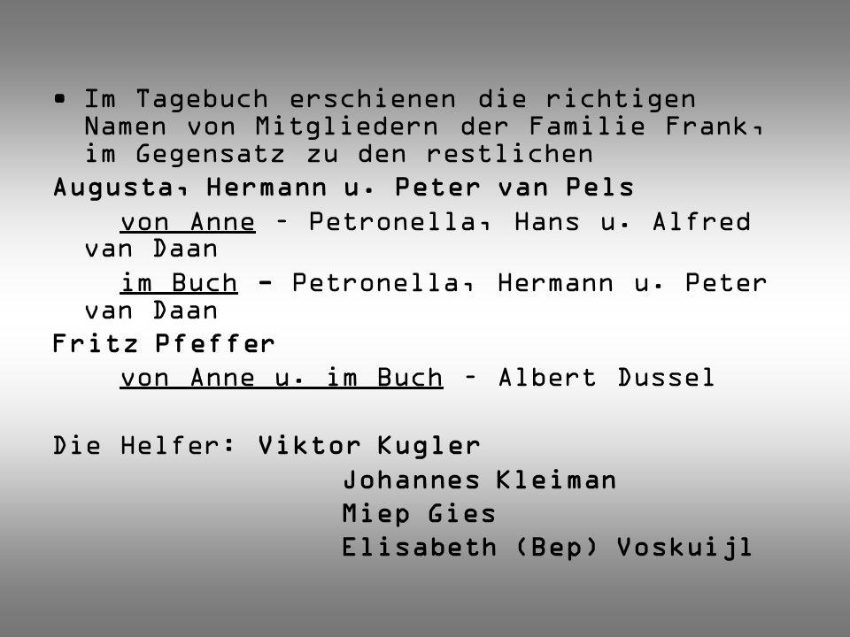 Im Tagebuch erschienen die richtigen Namen von Mitgliedern der Familie Frank, im Gegensatz zu den restlichen Augusta, Hermann u. Peter van Pels von An