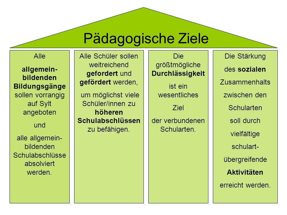 Pädagogische Ziele Alle allgemein- bildenden Bildungsgänge sollen vorrangig auf Sylt angeboten und alle allgemein- bildenden Schulabschlüsse absolviert werden.