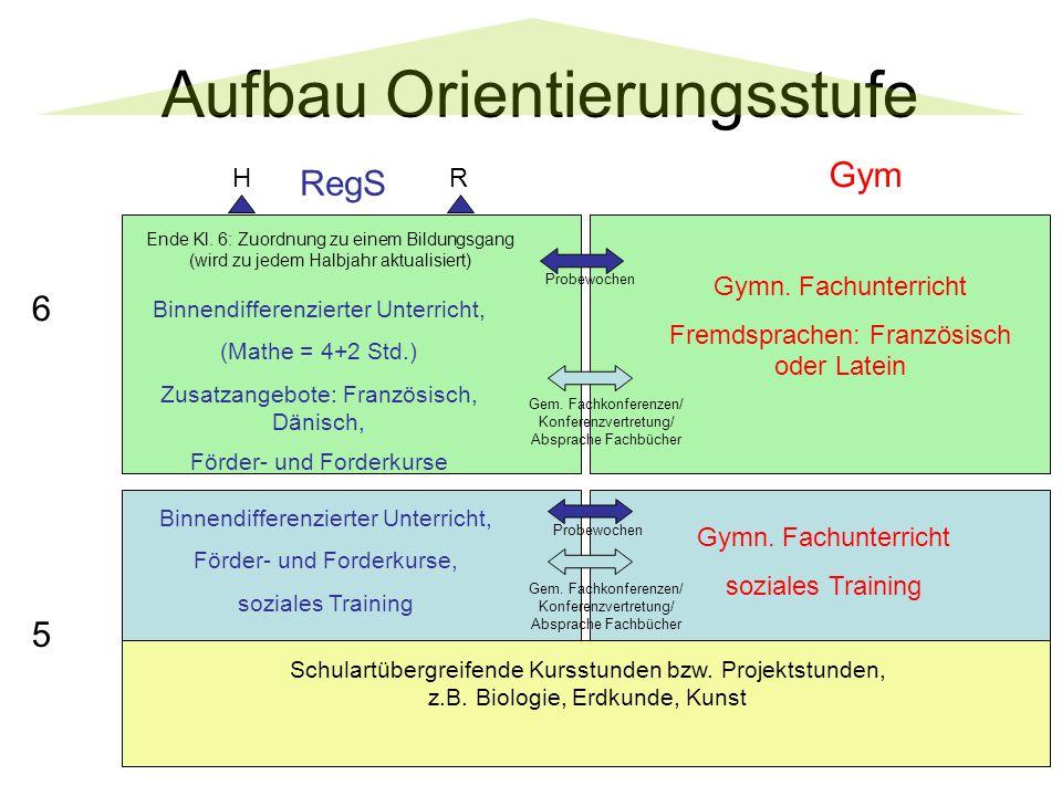 Aufbau Orientierungsstufe 5 Schulartübergreifende Kursstunden bzw.