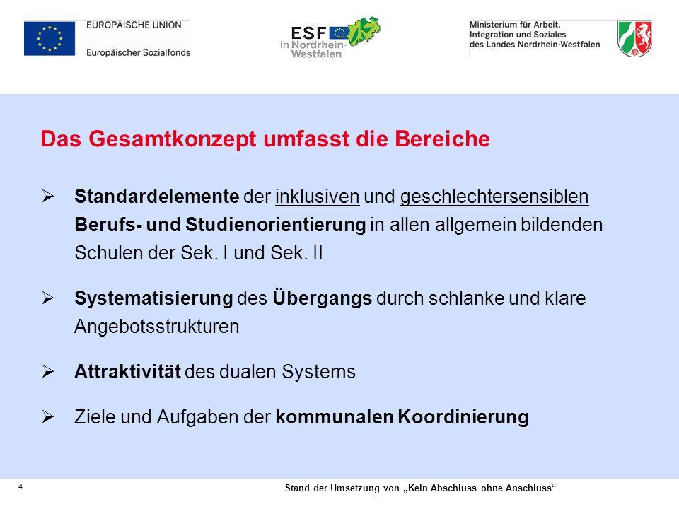 """4 Stand der Umsetzung von """"Kein Abschluss ohne Anschluss"""" Das Gesamtkonzept umfasst die Bereiche  Standardelemente der inklusiven und geschlechtersen"""