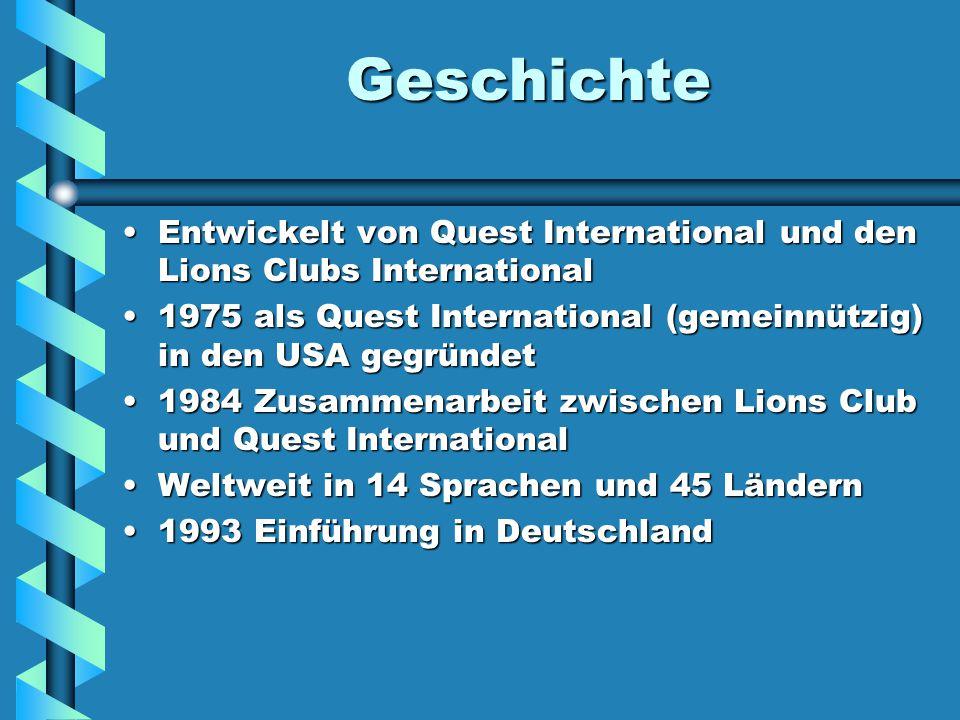 Geschichte Entwickelt von Quest International und den Lions Clubs InternationalEntwickelt von Quest International und den Lions Clubs International 1975 als Quest International (gemeinnützig) in den USA gegründet1975 als Quest International (gemeinnützig) in den USA gegründet 1984 Zusammenarbeit zwischen Lions Club und Quest International1984 Zusammenarbeit zwischen Lions Club und Quest International Weltweit in 14 Sprachen und 45 LändernWeltweit in 14 Sprachen und 45 Ländern 1993 Einführung in Deutschland1993 Einführung in Deutschland