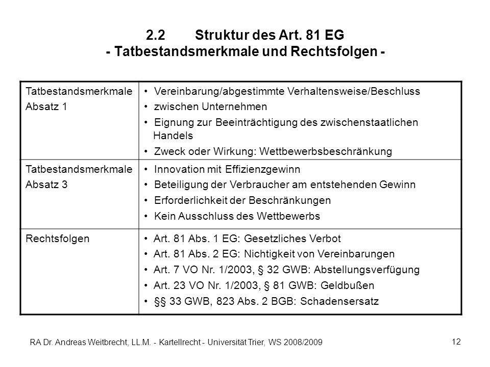 RA Dr. Andreas Weitbrecht, LL.M. - Kartellrecht - Universität Trier, WS 2008/2009 12 2.2Struktur des Art. 81 EG - Tatbestandsmerkmale und Rechtsfolgen