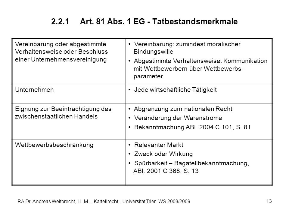 RA Dr. Andreas Weitbrecht, LL.M. - Kartellrecht - Universität Trier, WS 2008/2009 13 2.2.1Art. 81 Abs. 1 EG - Tatbestandsmerkmale Vereinbarung oder ab