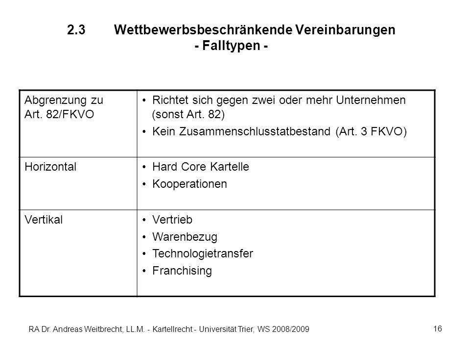 RA Dr. Andreas Weitbrecht, LL.M. - Kartellrecht - Universität Trier, WS 2008/2009 16 2.3 Wettbewerbsbeschränkende Vereinbarungen - Falltypen - Abgrenz