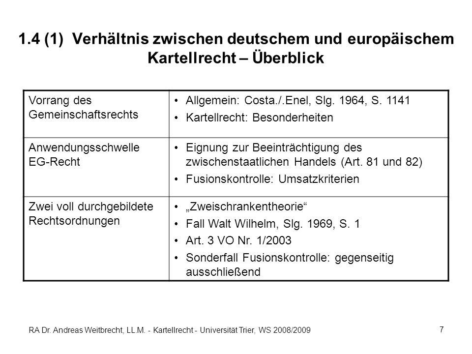RA Dr. Andreas Weitbrecht, LL.M. - Kartellrecht - Universität Trier, WS 2008/2009 7 1.4 (1) Verhältnis zwischen deutschem und europäischem Kartellrech