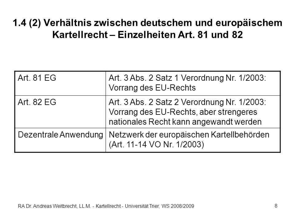 RA Dr. Andreas Weitbrecht, LL.M. - Kartellrecht - Universität Trier, WS 2008/2009 8 1.4 (2) Verhältnis zwischen deutschem und europäischem Kartellrech