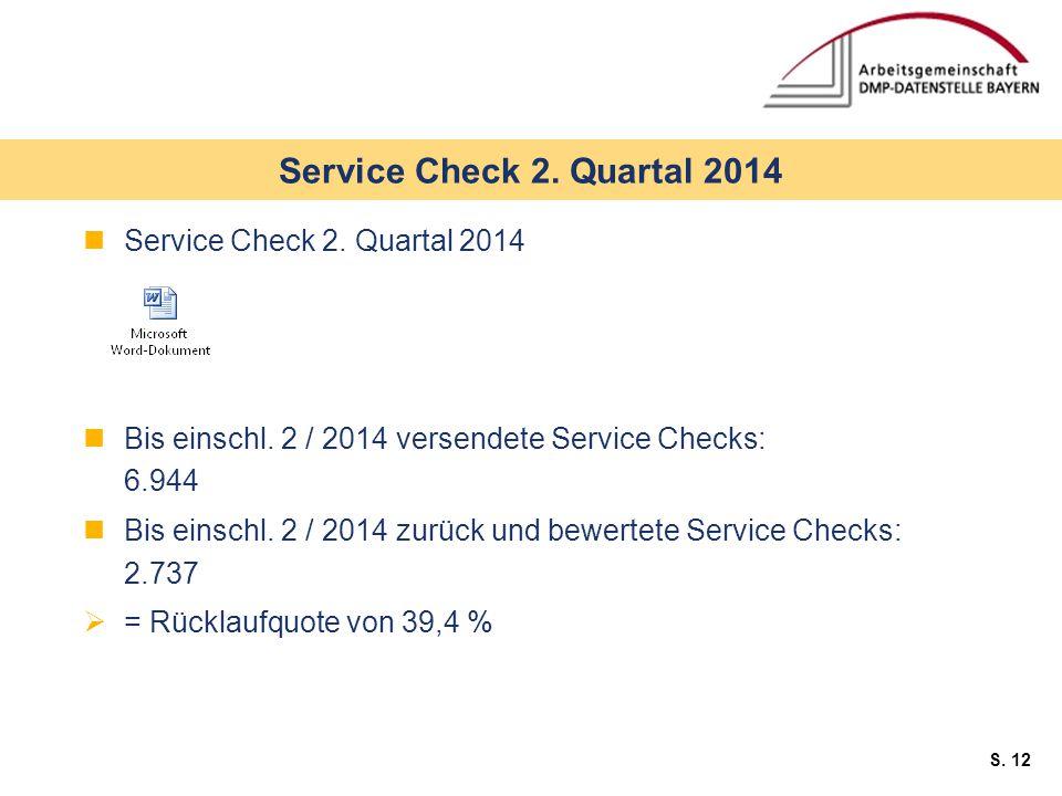 S. 12 Service Check 2. Quartal 2014 Bis einschl.