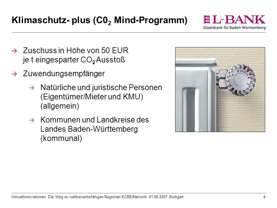 Umweltinnovationen: Der Weg zu wettbewerbsfähigen Regionen ECREINetwork 01.06.2007 Stuttgart4 Klimaschutz- plus (C0 2 Mind-Programm)  Zuschuss in Höh