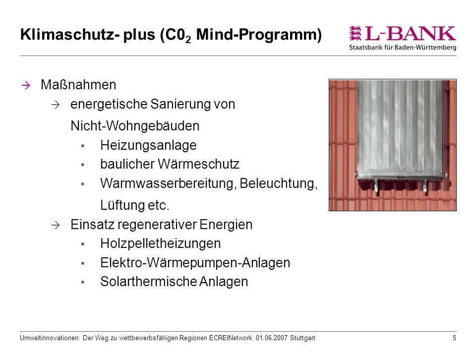 Umweltinnovationen: Der Weg zu wettbewerbsfähigen Regionen ECREINetwork 01.06.2007 Stuttgart5 Klimaschutz- plus (C0 2 Mind-Programm)  Maßnahmen  energetische Sanierung von Nicht-Wohngebäuden  Heizungsanlage  baulicher Wärmeschutz  Warmwasserbereitung, Beleuchtung, Lüftung etc.