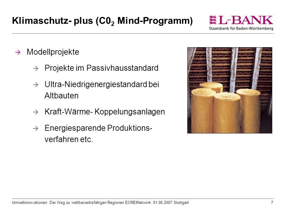 Umweltinnovationen: Der Weg zu wettbewerbsfähigen Regionen ECREINetwork 01.06.2007 Stuttgart7 Klimaschutz- plus (C0 2 Mind-Programm)  Modellprojekte