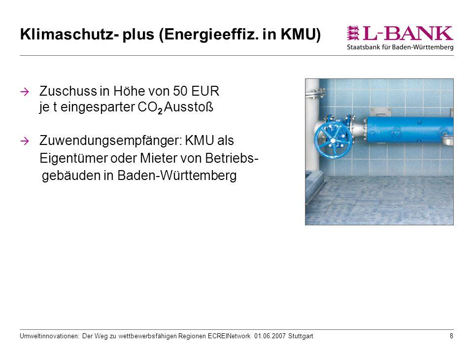 Umweltinnovationen: Der Weg zu wettbewerbsfähigen Regionen ECREINetwork 01.06.2007 Stuttgart8 Klimaschutz- plus (Energieeffiz. in KMU)  Zuschuss in H