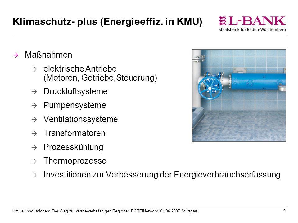 Umweltinnovationen: Der Weg zu wettbewerbsfähigen Regionen ECREINetwork 01.06.2007 Stuttgart9 Klimaschutz- plus (Energieeffiz. in KMU)  Maßnahmen  e
