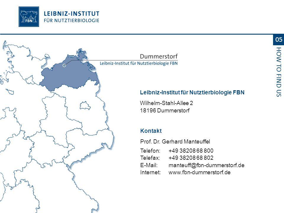 Leibniz-Institut für Nutztierbiologie FBN Wilhelm-Stahl-Allee 2 18196 Dummerstorf 05 HOW TO FIND US Kontakt Prof. Dr. Gerhard Manteuffel Telefon:+49 3