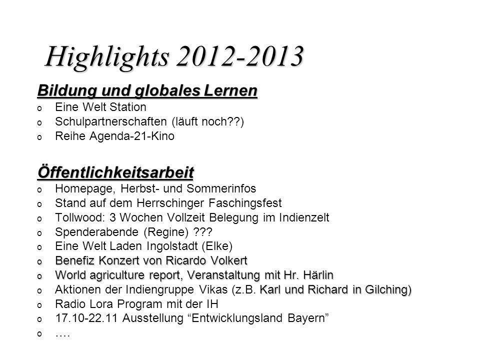 Highlights 2012-2013 Bildung und globales Lernen o o Eine Welt Station o o Schulpartnerschaften (läuft noch??) o o Reihe Agenda-21-KinoÖffentlichkeits