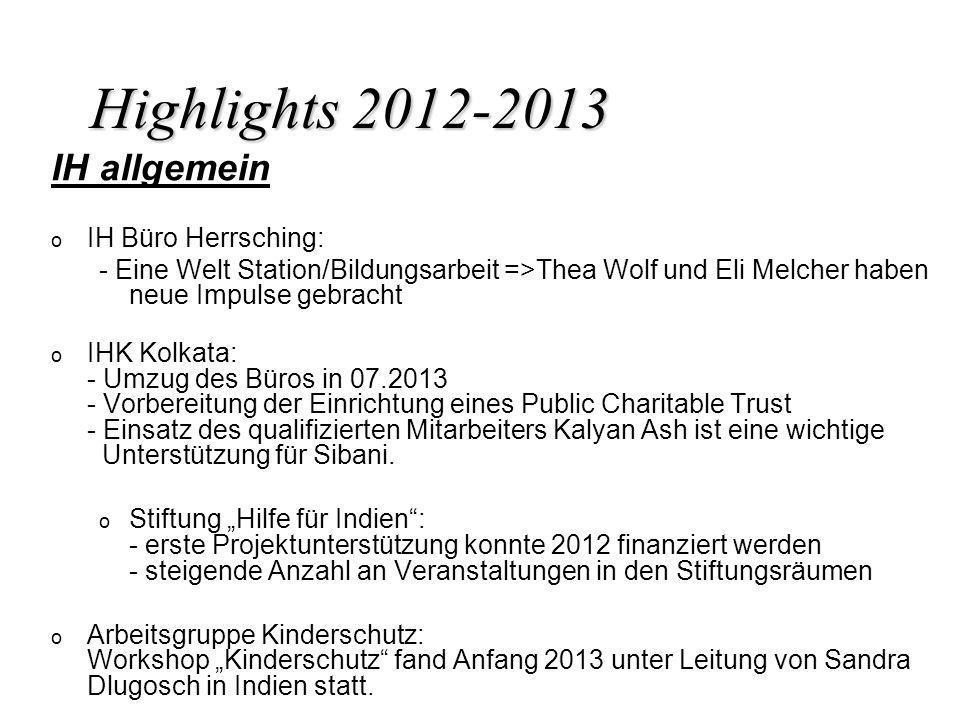 Highlights 2012-2013 IH allgemein o o IH Büro Herrsching: - Eine Welt Station/Bildungsarbeit =>Thea Wolf und Eli Melcher haben neue Impulse gebracht o