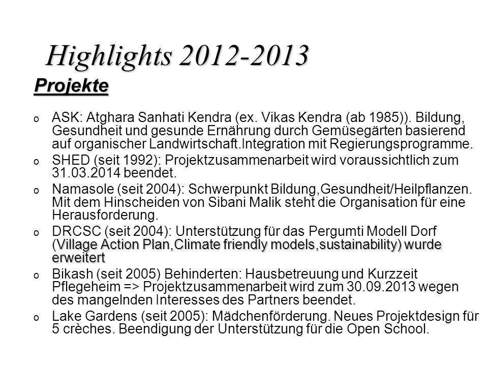 Highlights 2012-2013 Projekte o o ASK: Atghara Sanhati Kendra (ex. Vikas Kendra (ab 1985)). Bildung, Gesundheit und gesunde Ernährung durch Gemüsegärt