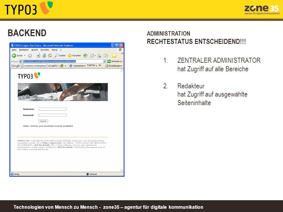 Technologien von Mensch zu Mensch - zone35 – agentur für digitale kommunikation BACKEND ADMINISTRATION RECHTESTATUS ENTSCHEIDEND!!.