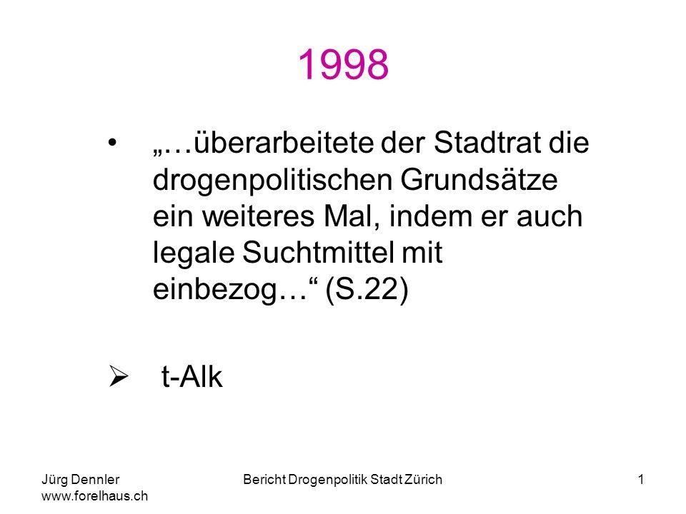 """Jürg Dennler www.forelhaus.ch Bericht Drogenpolitik Stadt Zürich1 1998 """"…überarbeitete der Stadtrat die drogenpolitischen Grundsätze ein weiteres Mal,"""