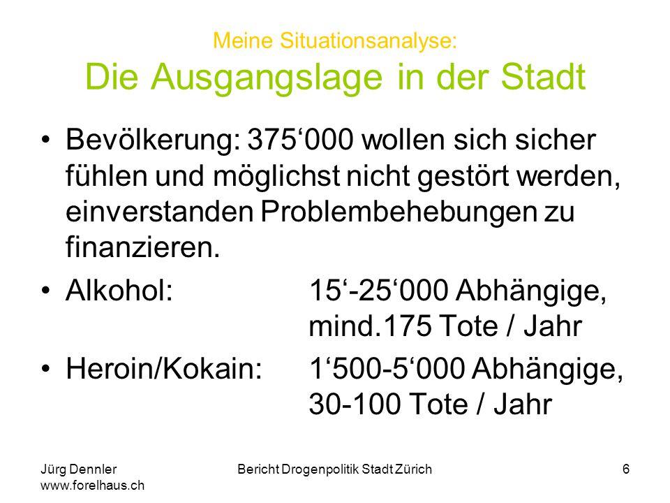 Jürg Dennler www.forelhaus.ch Bericht Drogenpolitik Stadt Zürich7 Mein Fazit zur Suchtpolitik der Stadt Politik zeigt Beweglichkeit Aktivitäten sind auf Überlebenshilfe ausgerichtet Priorität haben Anliegen der öffentlichen Augenblicksaufmerksamkeit Alkoholbereich und auch andere Suchtbereiche kommen zu kurz Unterstützung zum Bewältigen der Sucht ist kein öffentliches Thema