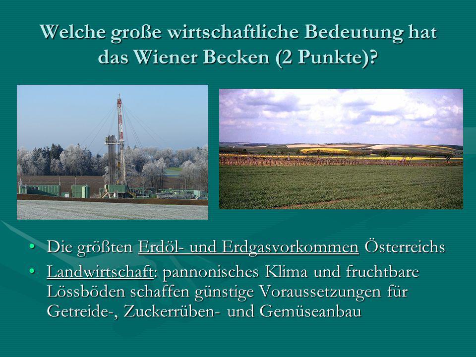 Welche große wirtschaftliche Bedeutung hat das Wiener Becken (2 Punkte)? Die größten Erdöl- und Erdgasvorkommen ÖsterreichsDie größten Erdöl- und Erdg