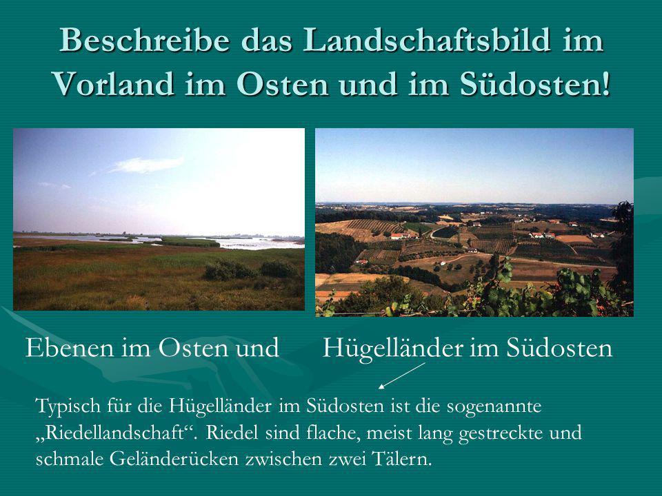 Beschreibe das Landschaftsbild im Vorland im Osten und im Südosten.