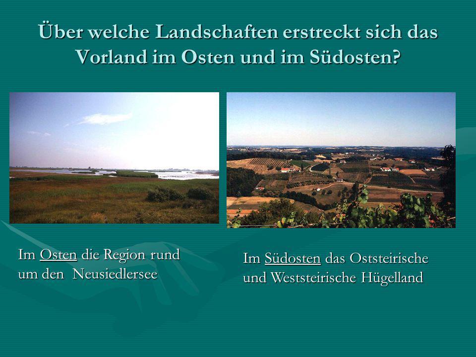 Über welche Landschaften erstreckt sich das Vorland im Osten und im Südosten? Im Osten die Region rund um den Neusiedlersee Im Südosten das Oststeiris